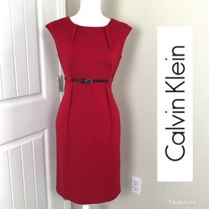 Calvin Klein Red cap sleeves dress Sz 6